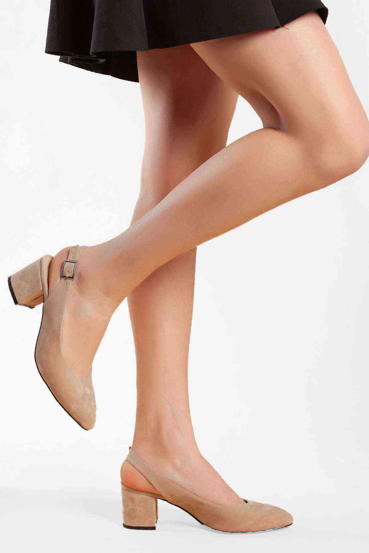 Kadın Topuklu Ayakkabı - Vizon Süet