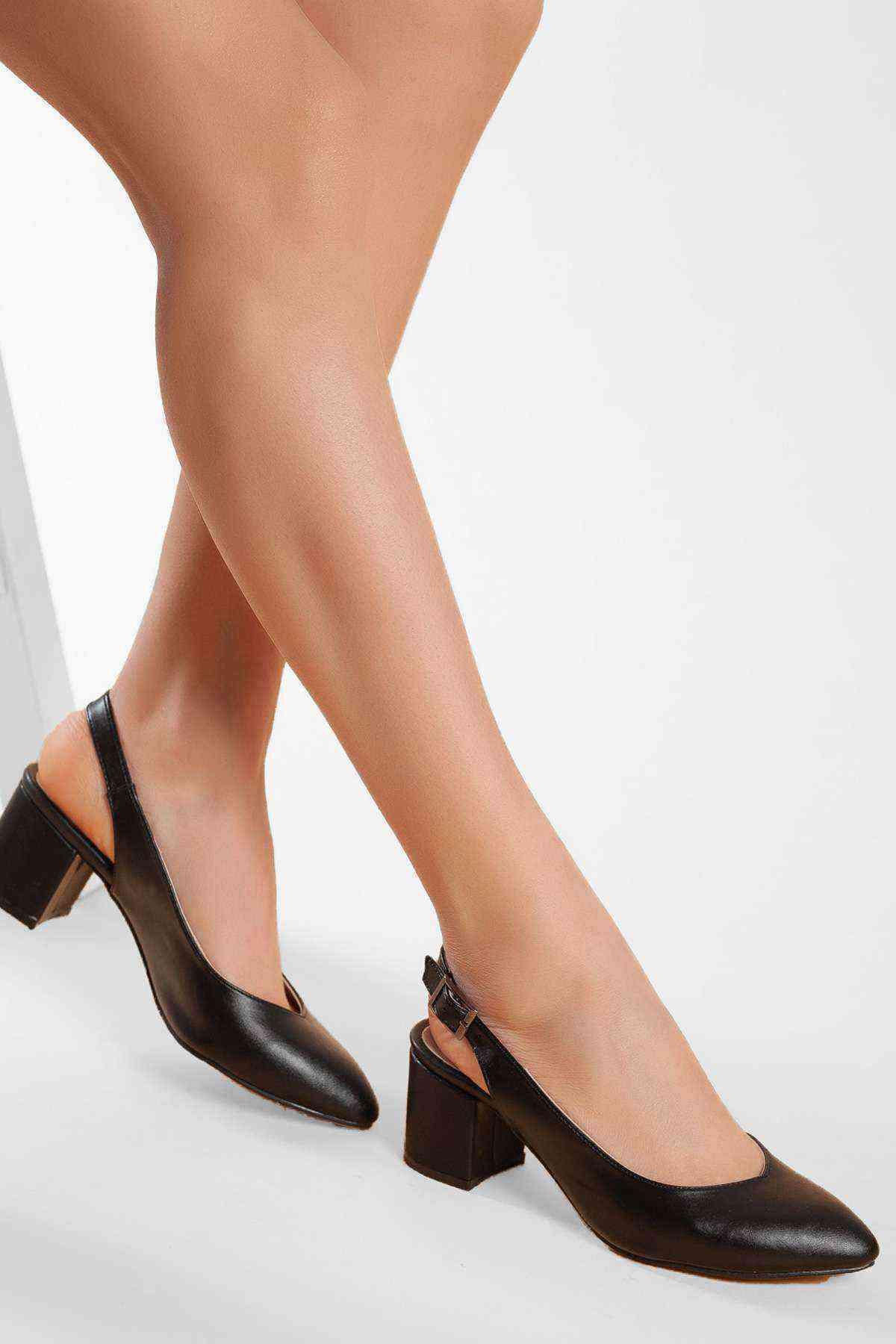 Kadın Topuklu Ayakkabı - Siyah Cilt