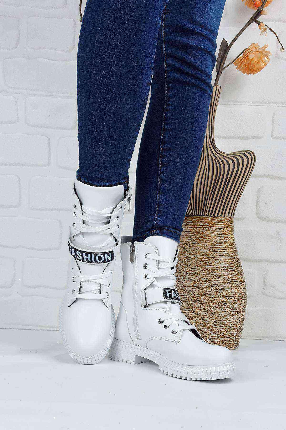 Kadın Beyaz Deri Fashion Bot - Mg-04