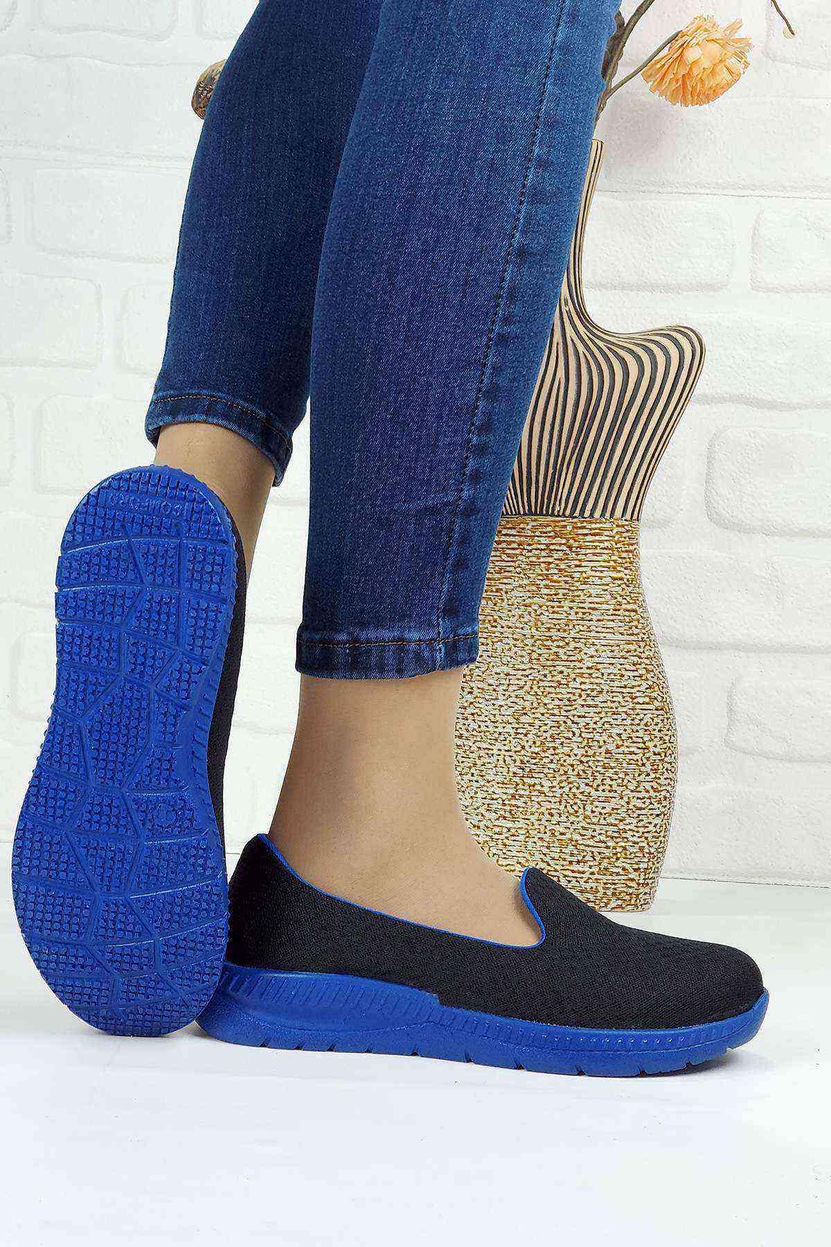 Memory Foam Ortopedik Taban Kadın Spor Ayakkabı - Lacivert Sax
