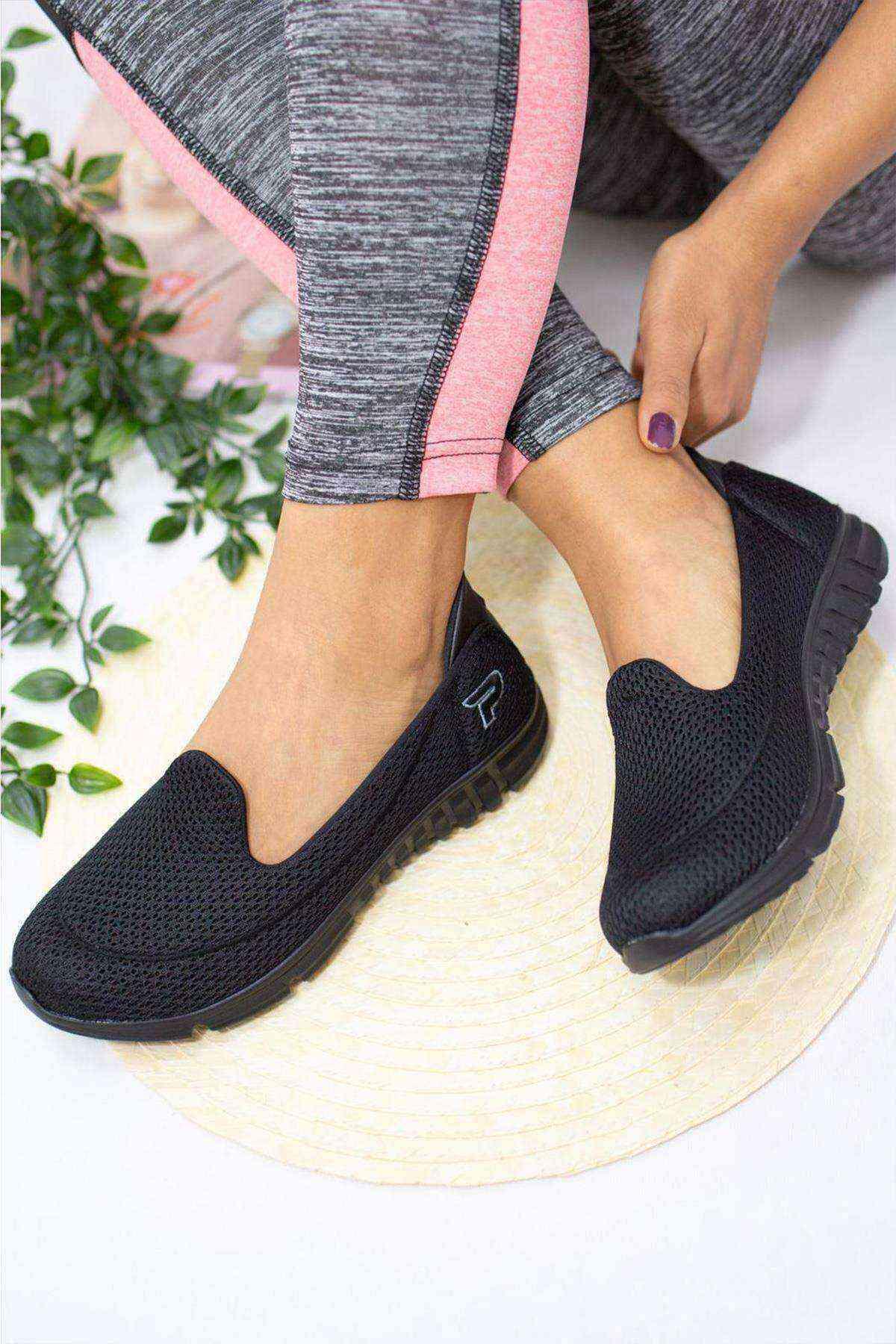 Memory Ortopedik Taban Kadın Günlük Ayakkabı - Siyah