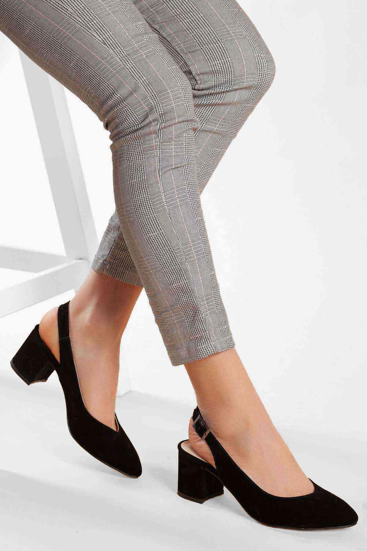 Kadın Topuklu Ayakkabı - Siyah Süet