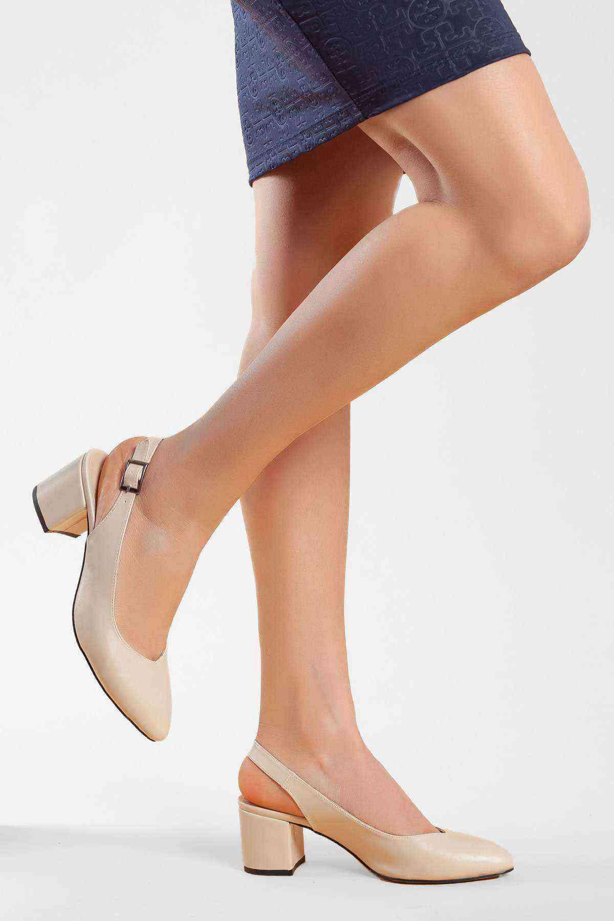 Kadın Topuklu Ayakkabı - Vizon Cilt