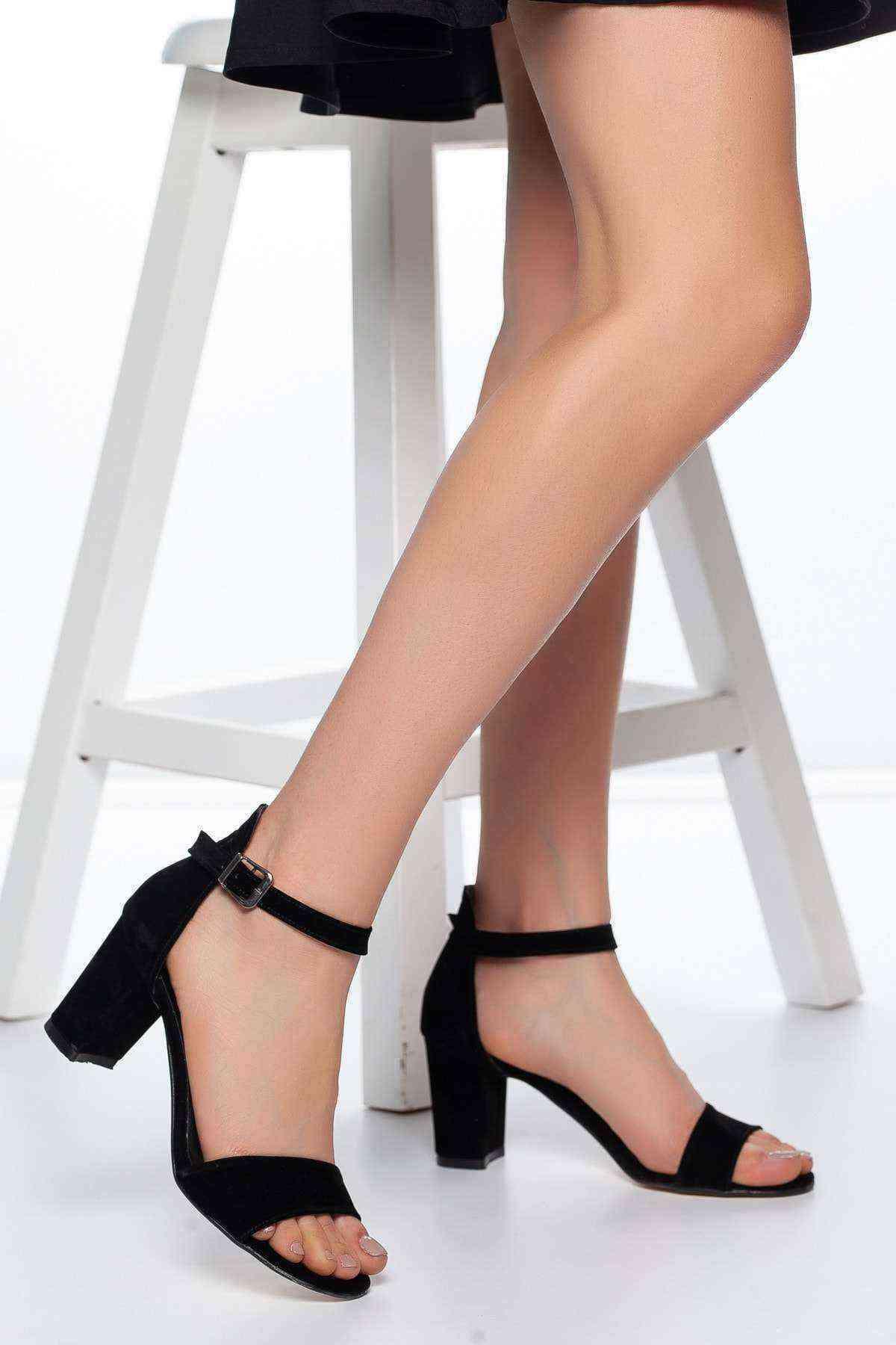 Tek Bant Kadın Ayakkabı - Siyah Süet