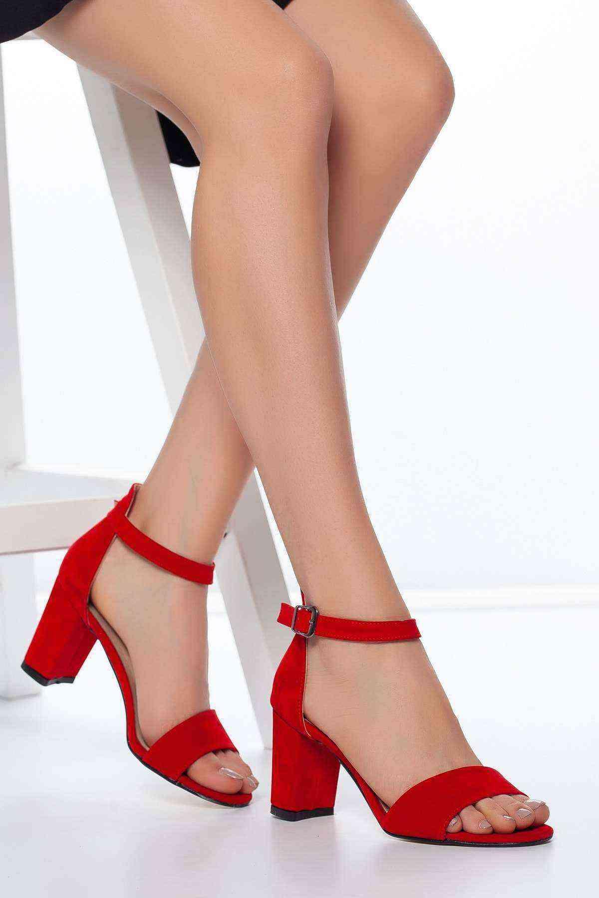 Tek Bant Kadın Ayakkabı - Kırmızı Süet