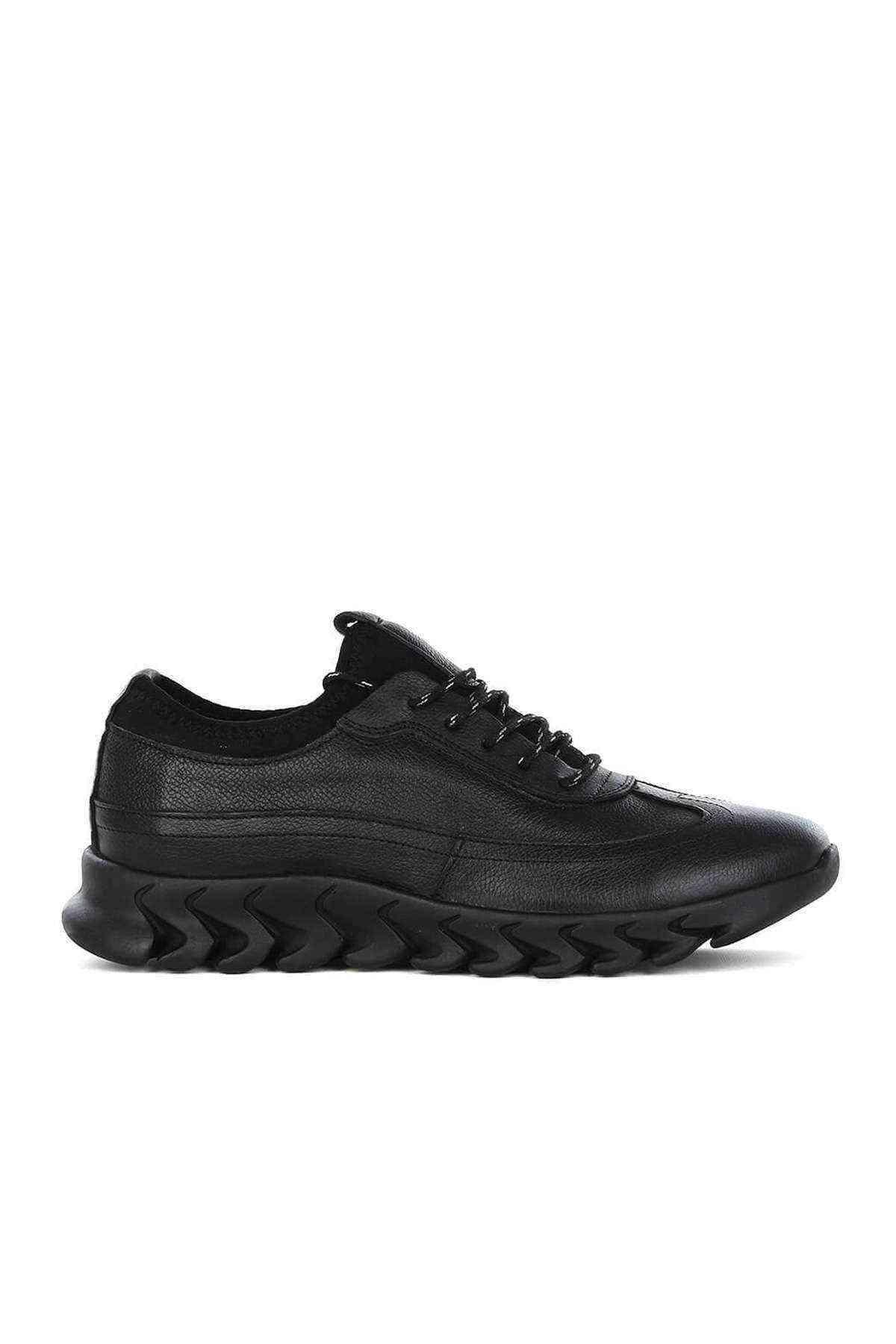 Erkek Siyah Hakiki Deri Casual Ayakkabı - Frank Peter E-782