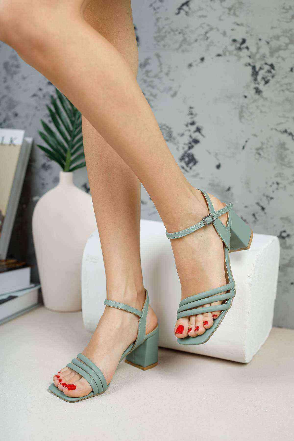 Mint Yeşil 3 Bant Bilekten Bağlı Kadın Topuklu Ayakkabı